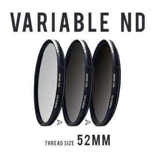 Variable ND filter 52mm (adjustable ND2 to ND400)