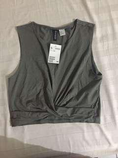 H&M Army Knot Crop Top