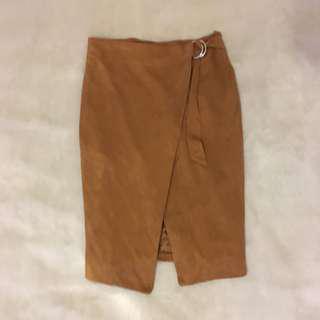 Velvet wrap skirt