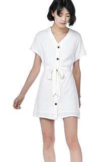 bfbec9ffc1 PENDING TEM Hayli Button-Through Dress in White (S)