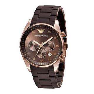 🚚 Emporio Armani Sportivo Brown Silicone Strap Women's Watch AR5891
