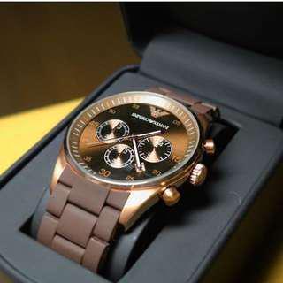 🚚 Emporio Armani Sportivo Brown Silicone Strap Men's Watch AR5890