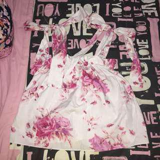 H&M Floral Printed Ribbon Top