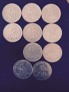Old 50 cents coin (Malaysia) Whole Set