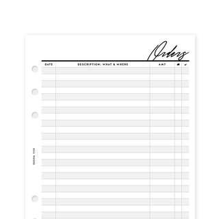 Sessa Vee Order Tracker A6 Personal Size Inserts