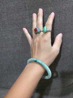 老玉石戒指純銀~玉鐲~喜歡哪一個請私………