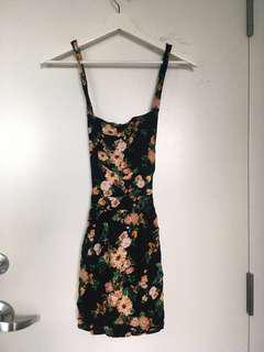 black floral overall skirt/dress