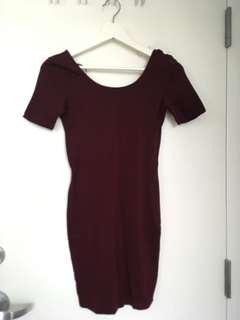 wine red low back scoop neck bodycon dress