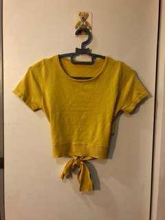 yellow mustard crop tie back top #under9