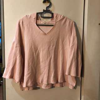 pink hoodie raw cut top #under9