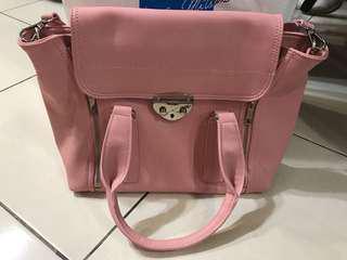 🚚 Mizzue 櫻花粉色學院包兩用肩背包側背包