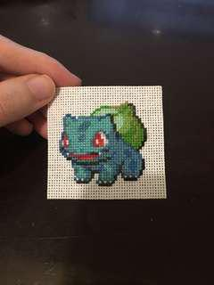 Pokemon bulbasaur cross stitch patch