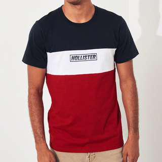 AUTHENTIC HOLLISTER Colorblock Logo Graphic Tee