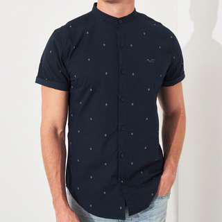 AUTHENTIC HOLLISTER Navy Pattern Poplin Muscle Fit Shirt