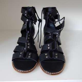 Windsor Smith Black and Brown Heel Sandals Tie Up Size 8