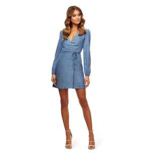 Denim Tash Wrap Dress