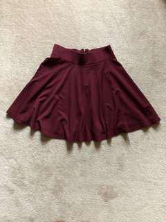 H&M Maroon Skater Skirt