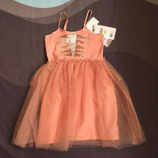 Cotton on tulle dress (peach) 2T