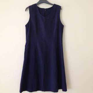Navy colour sleeveless dress