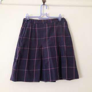Navy plaid pleated skirt
