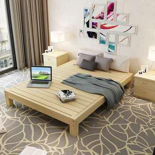 Solid wood tatami bed frame without headboard