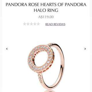 Beautiful Rose Gold Halo Pandora Ring Sz 56