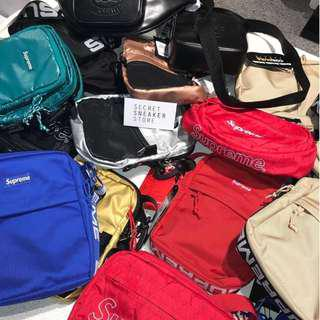 SUPREME LACOSTE SHOULDER BAG WAIST BAG SS17 SS18 FW18 RED BLUE TAN BLACK
