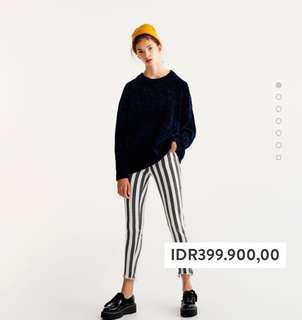 H&M Velvet Knit Sweater Dark Blue