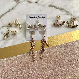 Flower Daisy Earrings and Rose Gold Tassel Earrings