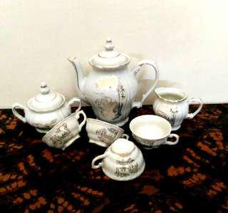 Vintage Bamboo/ Swan Porcelain Tea Set