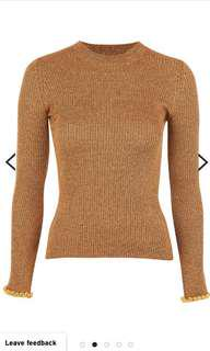 Topshop Fluted Frill Knit Top