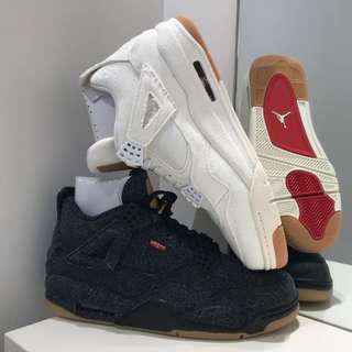 NIKE X LEVI'S AIR JORDAN 4 BLACK WHITE DENIM MULTIPLE SIZES