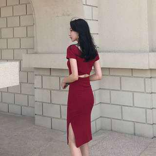 BNWT Wine Red / Maroon Cross Back Midi Bodycon Dress with Side Slit
