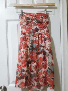 Jean Machine Floral Strapless Dress