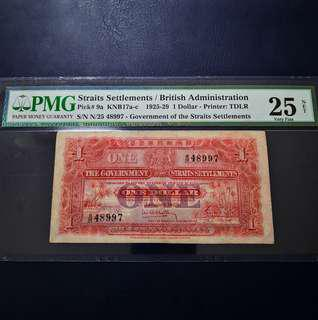 1929 Government Of The Straits Settlements One Dollar Banknote~PMG 25 Very Fine NET (Repaired)