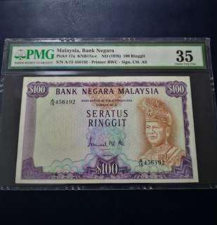 🇲🇾 Malaysia 3rd Series RM100 Banknote~PMG 35 Choice Very Fine