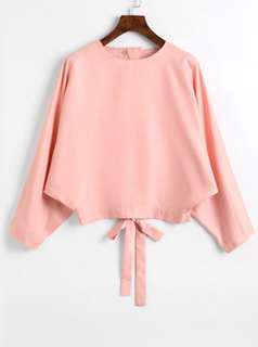 Satin Bow Tied Cut Out Blouse