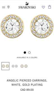 Swarovski Angelic Earrings in White and Gold