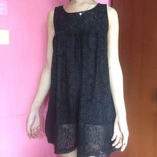 Black dress brukat