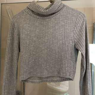 Grey Turtle Neck Crop