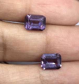 🚚 3.95 cts Czochralski Color Changing Alexandrite Lab Treated Octagon Pair 6.1 x 8 mm Loose Gem