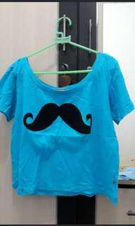 crop top blue mustache