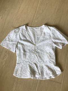 Lace cotton white top