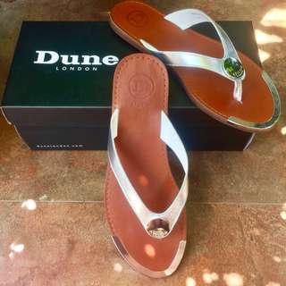 Dune London Silver 'Lagos' Leather Metal Disc Trim Post Sandals / Slippers