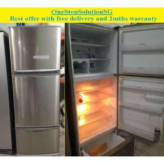 Mitsubishi (385L), 3doors fridge  / refrigerator ($280 + free delivery and 2mths warranty)