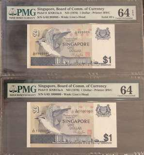 1$ Bird pair last solid 999999 with 1000000 last note UNC