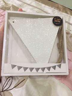 White Glitter Flag Party Bunting