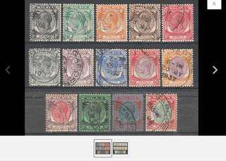 Malaya 1936-37 Straits Settlements KGV 14V Used SG260-273 M1635 Z