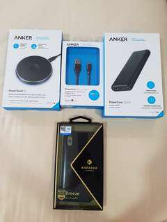 Brand new anker power touch wireless charging pad power line cable powercore samsung charger karapax iphone x case