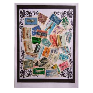 Themed stamps Airplanes  30 pcs BM19